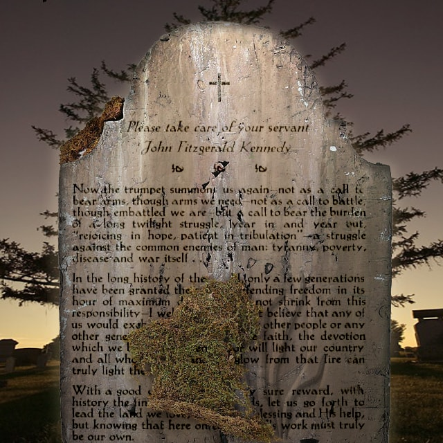 Scene created in Photoshop with tombstone displacing text and digital carving on stone