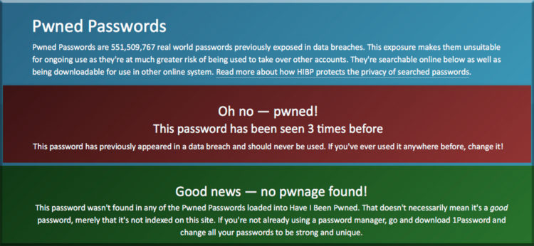 Have I been pwned website show if your info or password has been shared