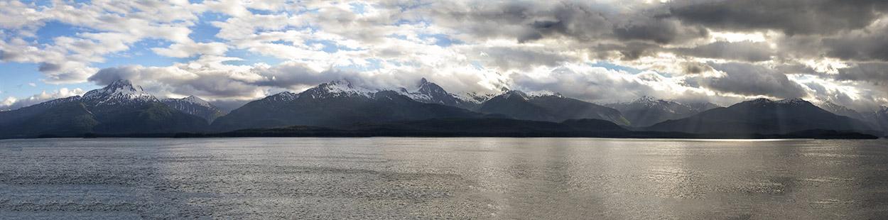 Alaska Mountain Range Panorama from ship
