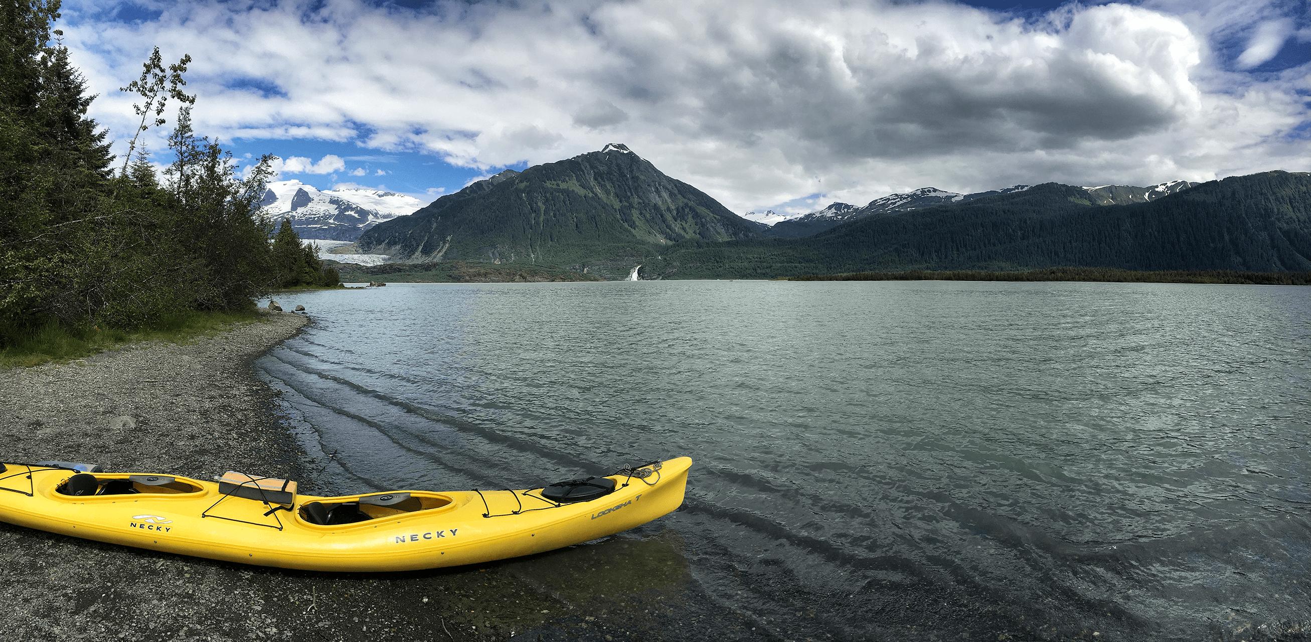 Panorama Sitka kayak trip to Glacier